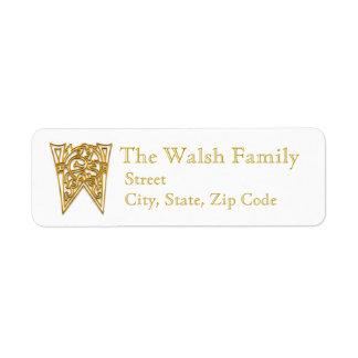 "W Monogram ""Irish Gold"" design Address Lables Return Address Label"