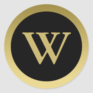 W :: Monogram W Elegant Gold and Black Sticker