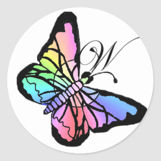 W~My Spring Butterfly initial Classic Round Sticker