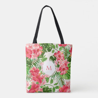 W Personalized Hibiscus Flower Monogram Tote Bag