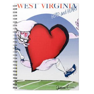 w virginia head heart, tony fernandes spiral notebooks