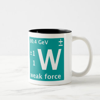 W weak force (left handed) Two-Tone coffee mug