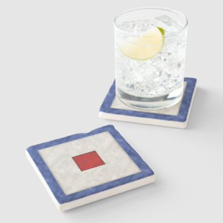 W Whiskey Watercolor Nautical Signal Maritime Flag Stone Coaster