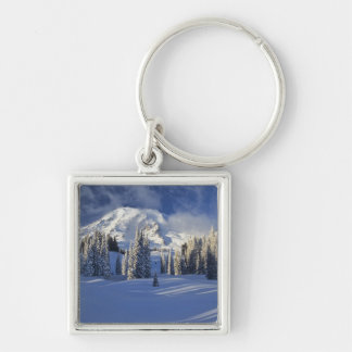 WA, Mt. Rainier NP, Mt. Rainier and Paradise Silver-Colored Square Keychain