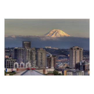 WA, Seattle, Mount Rainier from Kerry Park Poster