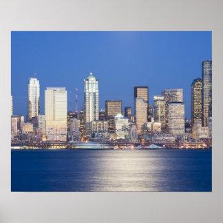WA, Seattle, Seattle skyline and Elliott Bay, 2 Poster