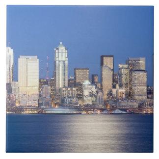 WA, Seattle, Seattle skyline and Elliott Bay, 2 Tiles
