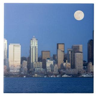 WA, Seattle, Seattle skyline and Elliott Bay 2 Tiles