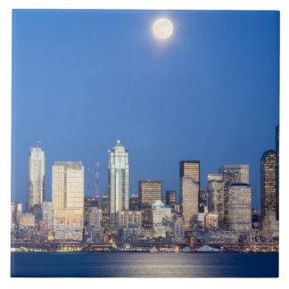 WA, Seattle, Seattle skyline and Elliott Bay 3 Ceramic Tiles