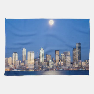 WA, Seattle, Seattle skyline and Elliott Bay 3 Hand Towels