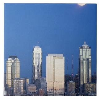 WA, Seattle, Seattle skyline and Elliott Bay 4 Tiles