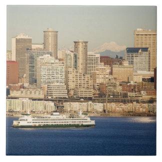 WA, Seattle, Seattle skyline and Elliott Bay Ceramic Tiles