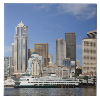 WA, Seattle, Seattle skyline with ferry boat Ceramic Tile