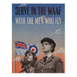 WAAF in Uniform with Pilot Beside Her Postcard