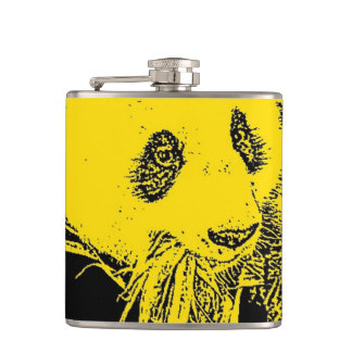 wacky art -panda yellow (C) Hip Flask