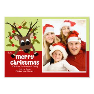 Wacky Reindeer Fun Christmas Flat Photo Card
