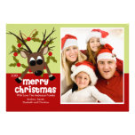 Wacky Reindeer Fun Christmas Flat Photo Card Custom Announcement
