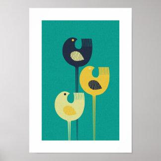 Wading Birds - mid century modern / minimalist Poster