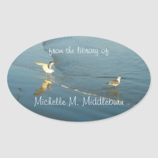 Wading Gulls Custom Bookplate Oval Sticker