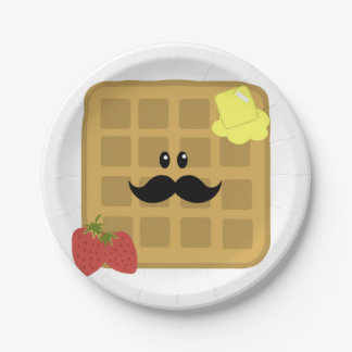 Waffle Mustache Man with Strawberries Paper Plate