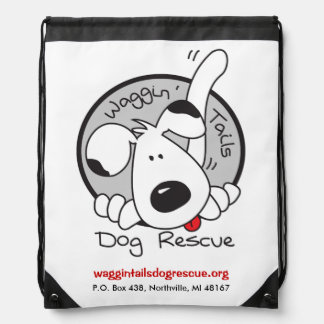 Waggin' Tails Dog Rescue Logo Drawstring Bag