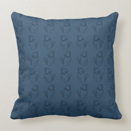 Wagging Dog in Dark Blue Throw Pillow