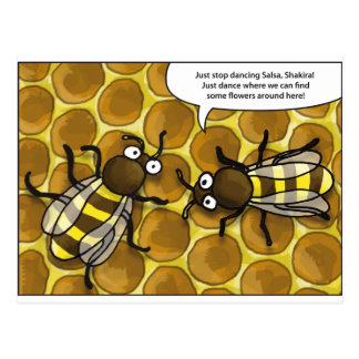 waggle dance OF the bees cartoon Postcard