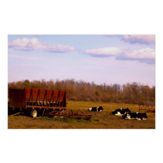 wagon and cows poster