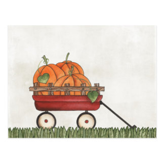 Wagon full of Pumpkins Postcard