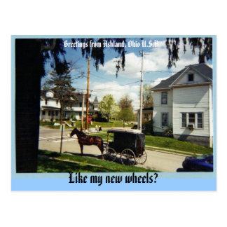 wagon, Greetings from Ashland, Ohio U.S.A., Lik... Postcard
