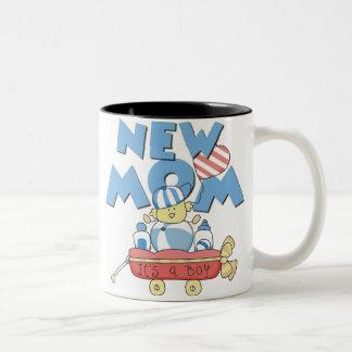 Wagon New Mom It's a Boy Two-Tone Coffee Mug