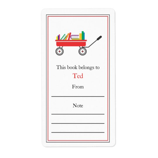 Wagon of Books Bookplate Shipping Label