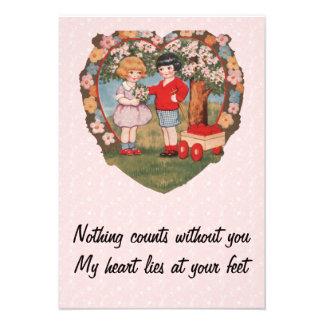 Wagon of Hearts Vintage Valentine Personalized Invite