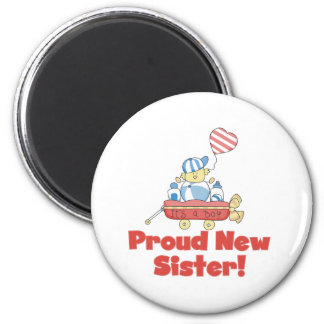 Wagon Proud New Sister It's a Boy 2 Inch Round Magnet