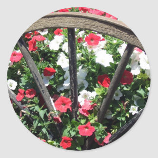 Wagon Wheel and Flowers 2 Classic Round Sticker