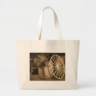 Wagon Wheel And Saddle Large Tote Bag