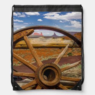 Wagon wheel close up, Arizona Drawstring Bag