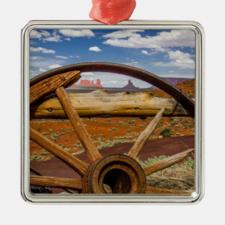 Wagon wheel close up, Arizona Silver-Colored Square Ornament