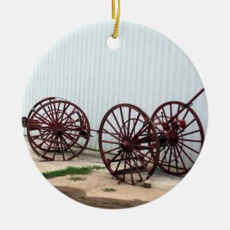 Wagon Wheels Ceramic Ornament