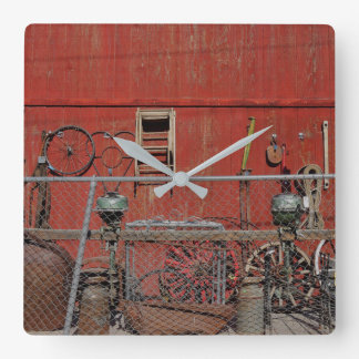 Wagon Wheels US 66 Old West Square Wall Clock