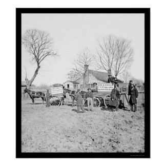 Wagons and Camera of Sam A. Cooley 1862 Poster