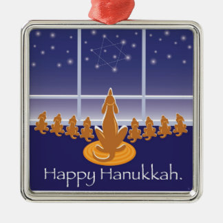 WagsToWishes_Menorah Dogs_Hanukkah Medallion Metal Ornament