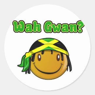 wah gwan classic round sticker