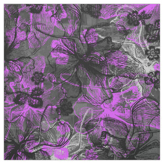 Wahine Lace Hawaiian Orchid Collage Fabric