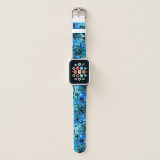 Wahine Lace Hawaiian Orchid Floral in Turquoise Apple Watch Band