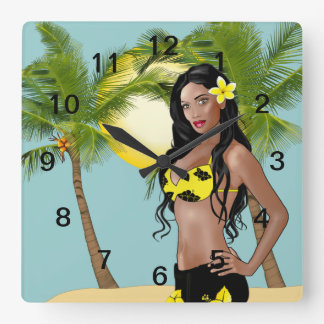 Wahine Pin-up Wall Clock Day Square