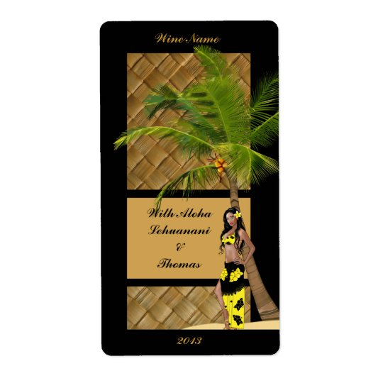 Wahine Pinup Coconut Tree Aloha Wine Craft Label Shipping Label