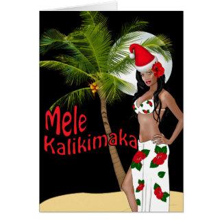 Wahine Pinup Mele Kalikimaka Christmas Cards 00