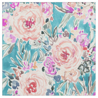WAHINE WAYS Tropical Aqua Floral Fabric