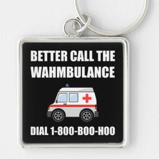 Wahmbulance Boo Hoo Silver-Colored Square Keychain